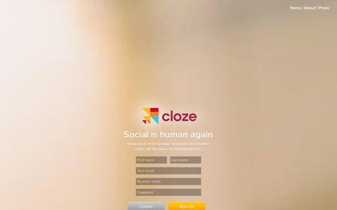Screenshot of Signup Page cloze.com - Cloze App - Inbox for Twitter, Facebook, LinkedIn, and Email - captured Sept. 13, 2014