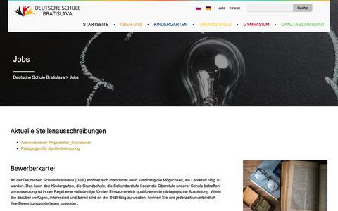 Screenshot of Jobs Page deutscheschule.sk - Jobs - Deutsche Schule Bratislava - captured Dec. 19, 2018