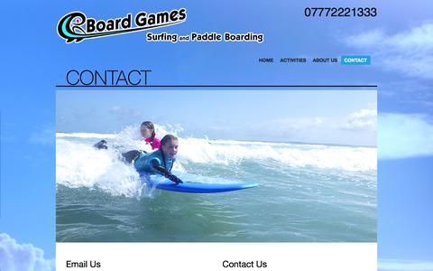 Screenshot of Contact Page boardgamessurfing.com - Contact Board Games Surfing | Pembrokeshire WalesBoard Games Surfing - captured Feb. 7, 2016