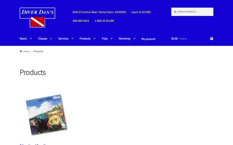Screenshot of Products Page diverdans.com - Products | Diver Dan's - captured Oct. 9, 2018