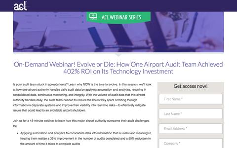 Screenshot of Landing Page acl.com - Evolve or Die: How One Airport Audit Team Achieved 402% ROI on Its Technology Investment - captured Sept. 19, 2018