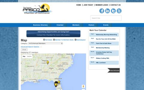 Screenshot of Maps & Directions Page centralpascochamber.com - Map - Central Pasco Chamber of Commerce, FL - captured Jan. 26, 2016