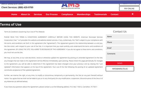 Screenshot of Terms Page amsltd.us - Debt Recovery Company | Contact Us | American Municipal Services - captured Oct. 8, 2017