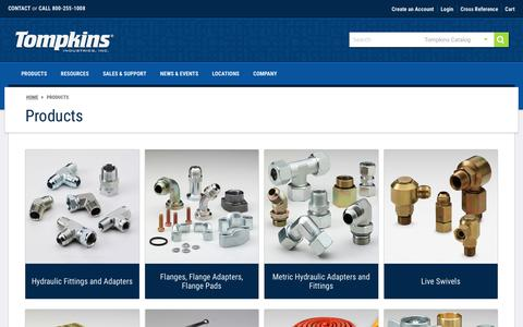Screenshot of Products Page tompkinsind.com captured Oct. 27, 2017