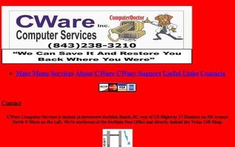 Screenshot of Contact Page cware.net - Contact Us - captured Oct. 15, 2016