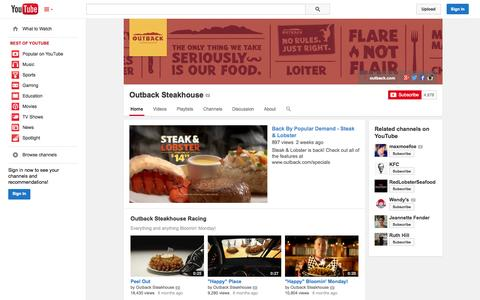 Screenshot of YouTube Page youtube.com - Outback Steakhouse  - YouTube - captured Oct. 26, 2014
