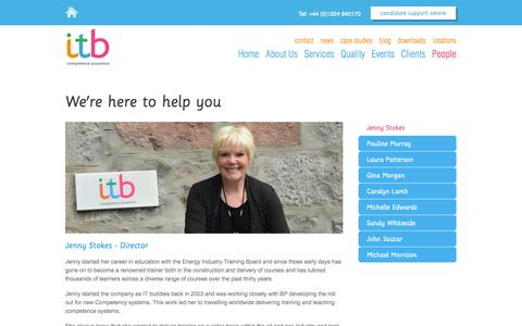 Screenshot of Team Page itbltd.co.uk - Jenny Stokes - Director: ITB Competence Assurance - captured Oct. 6, 2014