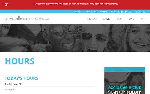 Screenshot of Hours Page geneseemall.com - Genesee Valley Center ::: Mall Hours - captured May 28, 2018
