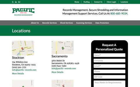 Screenshot of Contact Page Locations Page pacific-records.com - Pacific Records Management Locations in CA - captured July 12, 2017