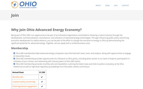 Screenshot of Signup Page ohioadvancedenergy.org - Ohio Advanced Energy Economy: Join - captured Oct. 20, 2018