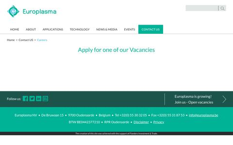Screenshot of Jobs Page europlasma.be - Careers - captured July 22, 2018
