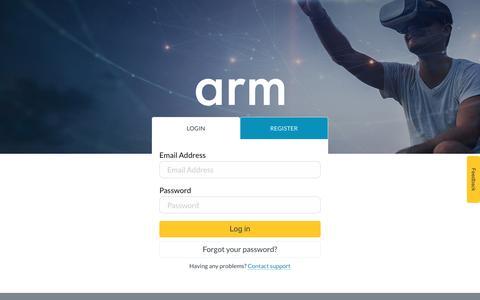 Screenshot of Login Page arm.com - Login – Arm - captured Jan. 1, 2018