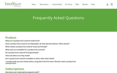 Screenshot of FAQ Page beantownbedding.com - Contact Us                      – Beantown Bedding - captured Aug. 1, 2018