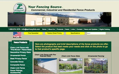 Screenshot of Products Page eprivacylink.com - Choose From These Fence Products Offered by PrivacyLink - captured Oct. 3, 2014