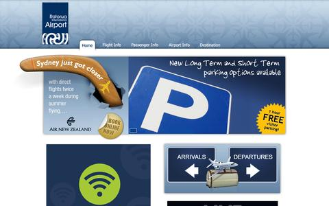 Screenshot of Home Page rotorua-airport.co.nz - Rotorua International Airport   Gateway to the Bay of Plenty, NZ - captured Oct. 7, 2014