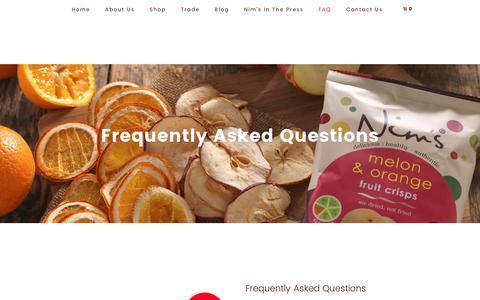 Screenshot of FAQ Page nimsfruitcrisps.com - Frequently Asked Questions – Nim's Fruit Crisps - captured June 13, 2017