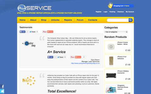 Screenshot of Testimonials Page a4service.co.uk - Testimonials - North Wales iPhone repairs & iPhone factory unlocksNorth Wales iPhone repairs & iPhone factory unlocks - captured Sept. 30, 2014