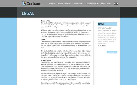 Screenshot of Terms Page certsure.com - Legal - Certsure - captured Oct. 2, 2014