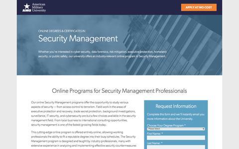 Screenshot of Landing Page apus.edu - Online Security Management Degrees & Certificates | American Military University - captured April 6, 2017