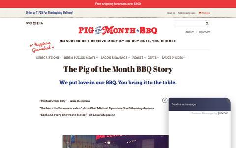 Screenshot of About Page pigofthemonth.com - The Pig of the Month BBQ Story -- About Us   Pig of the Month BBQ - captured Nov. 13, 2019