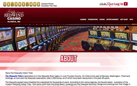 Screenshot of About Page redwindcasino.com - About   Nisqually Red Wind Casino - captured Jan. 28, 2016