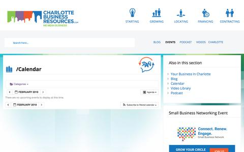 Screenshot of Support Page charlottebusinessresources.com - Calendar | Charlotte Business Resources - captured Feb. 17, 2018