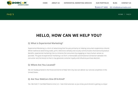 Screenshot of FAQ Page bobcarmedia.com - FAQ'S - Bob Car Media - captured Oct. 10, 2017