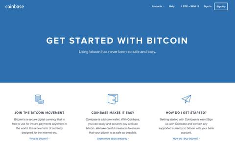 Screenshot of coinbase.com - Coinbase - Your Hosted Bitcoin Wallet - captured March 19, 2016