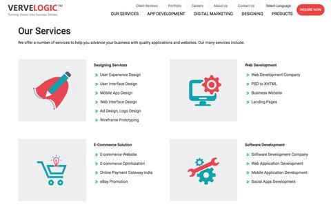 Screenshot of Services Page vervelogic.com - Verve Logic   Services - captured June 25, 2018