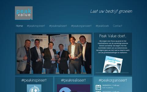 Screenshot of Home Page peakvalue.nl - Home - captured Sept. 29, 2014
