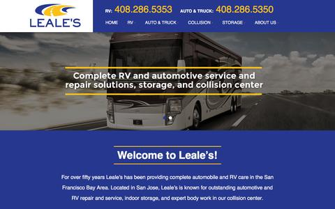 Screenshot of Home Page leales.com - Leale's RV & Auto in San Jose, CA in the Bay Area, Califormia | Full Service Repair, Maintenance, Storage, Collision, and Customization Shop Since 1965 | Transmissions | Fleet Service - captured Jan. 27, 2016