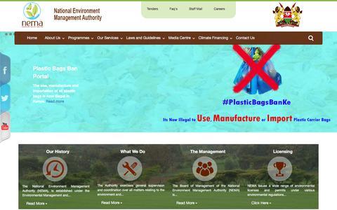 Screenshot of Home Page nema.go.ke - National Environment Management Authority (NEMA) - Home - captured Oct. 19, 2017