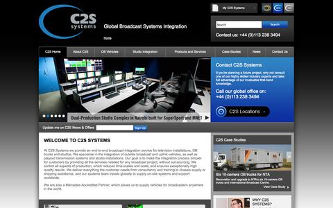 Screenshot of Home Page c2ssystems.com - Broadcast System Integration   C2S Systems - captured Sept. 26, 2014