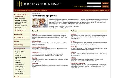Screenshot of Support Page houseofantiquehardware.com - Customer Service | FAQs , Policies & Service Help |House of Antique Hardware - captured Feb. 3, 2017