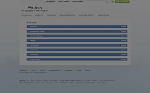 Screenshot of Site Map Page waters.com - Sitemap : Waters - captured Oct. 22, 2018