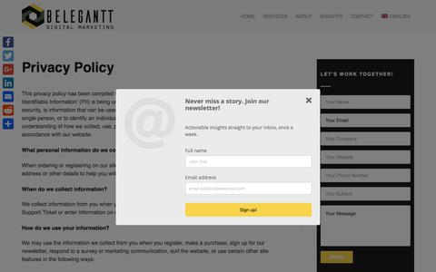 Screenshot of Privacy Page belegantt.com - Privacy Policy | Belegantt. Digital Marketing and eCommerce Agency - captured Aug. 1, 2018