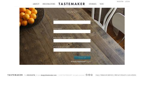 Screenshot of Signup Page tastemaker.com - Interior Design for Everyone   Tastemaker - captured Sept. 11, 2014