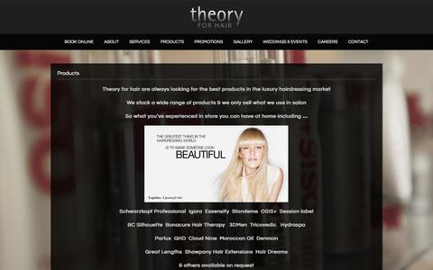 Screenshot of Products Page theoryforhair.com.au - Retail Products | Theory for Hair - captured Jan. 12, 2016