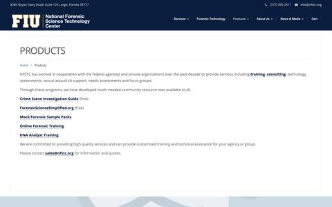 Screenshot of Products Page nfstc.org - Products – NFSTC@FIU - captured Oct. 18, 2018