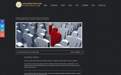 Screenshot of FAQ Page jogjarentcar.com - Affordable Car Rental Yogyakarta | Sewa Mobil Jogja | Borobudur Tour - captured Nov. 14, 2018