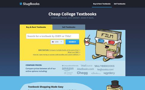 Screenshot of Home Page slugbooks.com - Compare College Textbook Prices | Buy and Rent College Textbooks | SlugBooks - captured Sept. 21, 2018