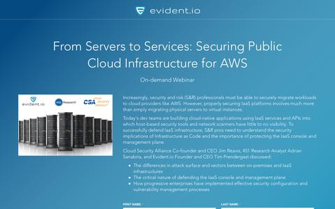 Screenshot of Landing Page evident.io - Securing Public Cloud Infrastructure for AWS - On-demand Webinar - captured April 30, 2017