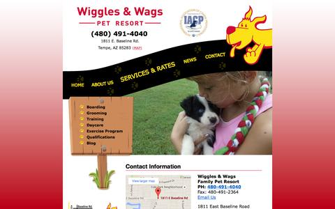 Screenshot of Contact Page wigglesandwagsboarding.com - Contact Information | Tempe Pet Resort - captured March 11, 2016