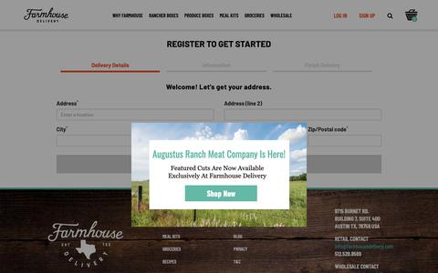 Screenshot of Signup Page farmhousedelivery.com - Register  :: Produce, meat, groceries and more, sourced from Texas farmers using beyond organic and sustainable practices, all delivered to your door - captured June 20, 2019