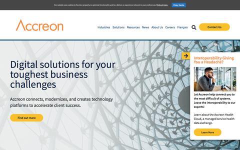 Screenshot of Home Page accreon.com - Home - Accreon - captured June 28, 2019