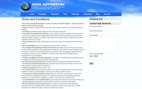 Screenshot of Terms Page highadventure.com.au - Terms and Conditions - High Adventure- High Adventure - captured Sept. 26, 2014