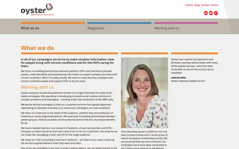 Screenshot of About Page oysterhc.co.uk - What we do  « Oyster Healthcare Communications: Outstanding editorial content in a range of formats to create multi-media campaigns - captured Oct. 18, 2018