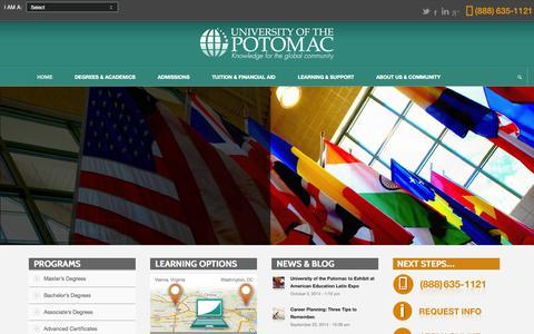 Screenshot of Home Page potomac.edu - Home - University of the Potomac - captured Oct. 6, 2014