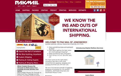Screenshot of Home Page Site Map Page weshipjonesboro.com - Packing, Shipping Store, Pak Mail Jonesboro, Arkansas - captured Nov. 15, 2018