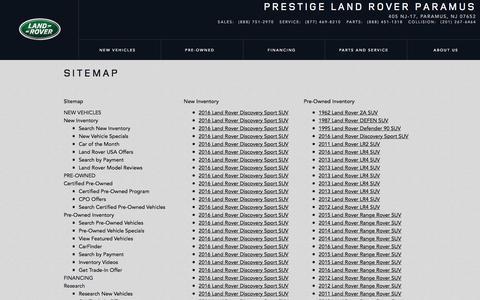 Screenshot of Site Map Page prestigelandrover.com - Prestige Land Rover | Sitemap - captured Jan. 31, 2016